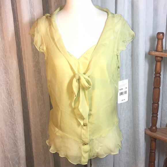 6c7eb0113249c ECI Blouse Top Shirt Women s 10 Chartreuse Green
